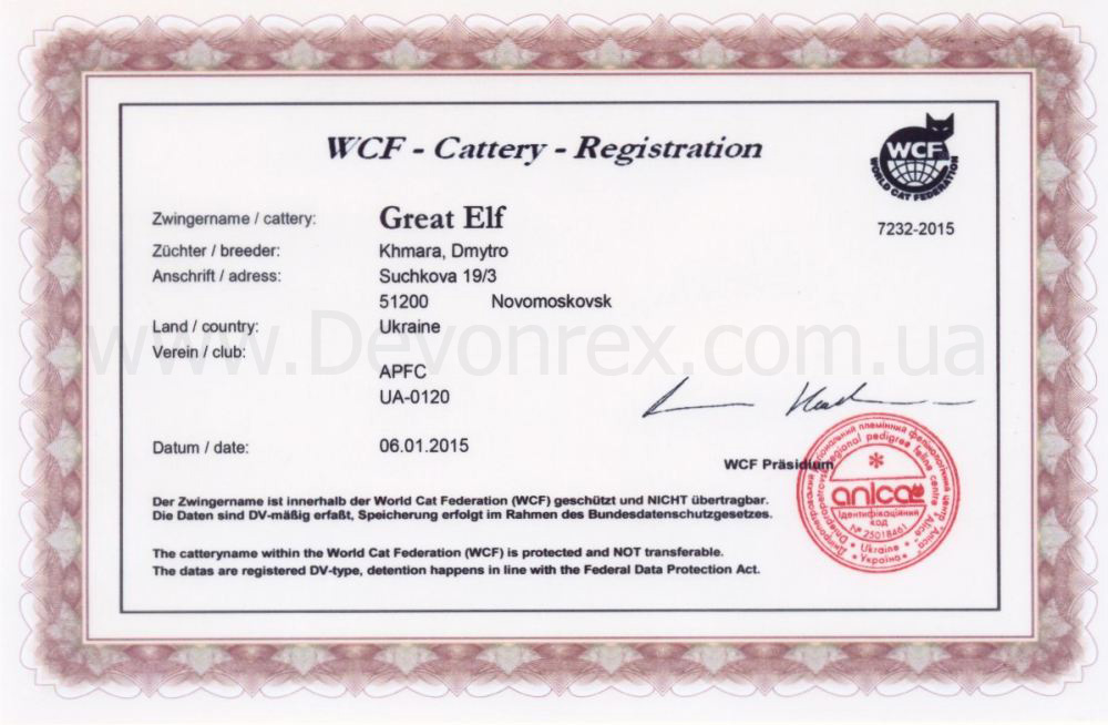 "registration_WCF питомник ""Great Elf"""